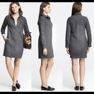 J Crew M 10 Gray herringbone Wool Shift dress